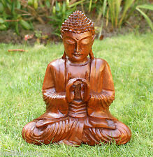 Hand Carved  30cms Thai Indian Wood Buddha Statue Spiritual Yoga Yogi Gifts