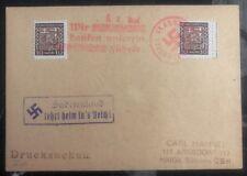 1938 Germany Sudetenland Provisional Cancel Postcard Cover To Haida Bohemia