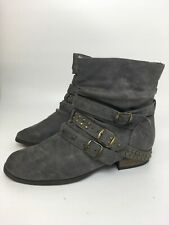 WOMENS ATMOSPHERE GREY FAUX LEATHER BUCKLES PULL ON ANKLE BOOTS SHOES UK 6 EU 39