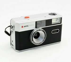 AGFA 35mm Film Reusable Compact Camera in Black & Silver + case (UK Stock) BNIB