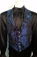 SHRINE ARISTOCRAT VICTORIAN BLUE TAPESTRY GOTHIC VEST JACKET VAMPIRE STEAMPUNK