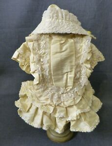 SILK DRESS & BONNET FOR ANTIQUE DOLL, DOLL CLOTHING, DOLL OUTFIT