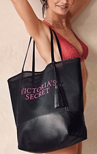 NWT VICTORIA'S SECRET BLACK MESH FAUX LEATHER LARGE TOTE BAG WITH TASSEL LIMITED