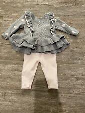 Miniclasix Sweater Top Legging Set Polka Dot Baby Girl Pink Gray
