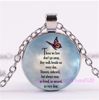 Butterfly Poem Photo Tibet Silver Cabochon Glass Necklace Pendant