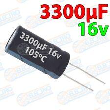 Condensadores electroliticos 3300uF 16v ±20% 12x20mm - Lote 1 unidad - Arduino E