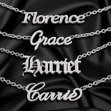 Personalised ANY NAME Necklace Custom Font Pendant Stainless Steel Nameplate UK