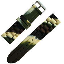 Military Camouflage Rubber watch strap band 12mm 14mm 16mm 18mm Free Spring Pins