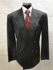 Hugo Boss Sakko Al Capone Zweireiher Schwarz Unifarben Schurwolle Gr. 98