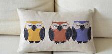 Cotton Linen Cushion Cover Pillow Case Hoots/Owls