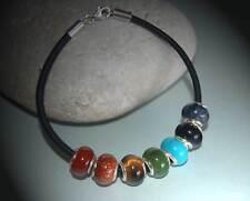 Sterling Silver Chakra Gemstone European Beads & Leather Bracelet