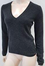 PAUL & JOE Charcoal Grey 100% Cashmere V Neck Long Sleeve Jumper Sweater S:44