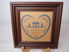Folk Art Scherenschnitte Hand Cut Blessing Bless This House Blue Brown Signed