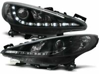 Coppia di Fari Anteriori LED DRL Look per Peugeot 207 2006-2009 Daylight Neri IT