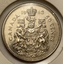1963 Canadian 50 Cent Coin 80% Silver 11.66g VF (AA102) Canada Currency