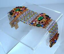 Antique Art Deco Nouveau Czech Bohemian Beaded w Filigree & Rhinestones Bracelet