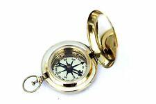 Handmade Nautical Brass Push Button Vintage Directional Pocket Compass