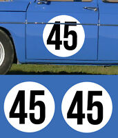 2 STICKERS ROND BLANC 40cm ET NUMEROS RALLYE RACE COURSE AUTOCOLLANT NU015