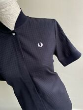 FRED PERRY UK SIZE 10 EU 38 US 6 WOMENS NAVY BLUE BOMBER COLLAR MESH SHIRT BNW