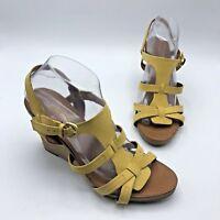 Franco Sarto Honduras Women Yellow Leather Strappy Sandal Shoe Size 10 Pre Owned