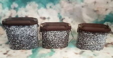 French vintage set of 3 enamel lunch pail,lunch box brown mottled effect.
