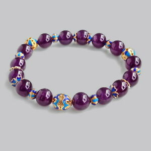 10.5mm Natural Brazilian Purple Amethyst Beads Bracelet DCF18
