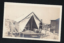 Vintage Antique Photograph Man in Cool Outfit Standing in Front of Tent