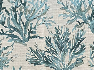 """Coral Tapestry Fabric Material Beige Blue Scrap 38 x 24 & 35 x 13"""" Great for pro"""