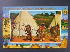 Indian City USA Oklahoma War Dance Territory Vintage Color Chrome Postcard 1950s
