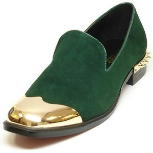 FI-6892 Green Suede Fiesso Loafer Gold Metal Tip and Gold Back Spikes