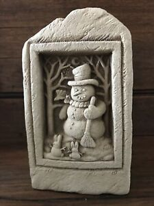 "1995 Carruth Christmas Holiday Snowman Bunnies Hand Cast Stone 6"" Wall Plaque"