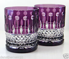 AJKA XENIA KING LOUIS ROCKS WHISKEY DOF GLASSES, AMETHYST PURPLE CASED CRYSTAL