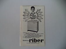 advertising Pubblicità 1961 LAVATRICE RIBER