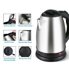 Stainless Steel Electric Tea Coffee Kettle Cordless Hot Water Boiler Pot 1.8 L