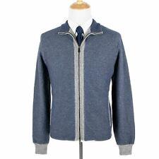 LNWOT Loro Piana Blue Grey 100% Cashmere Suede Trim Knit Heavy Jacket 44US