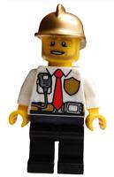 Lego Feuerwehrmann mit Helm Shirt in weiss Minifigur Feuerwehr Mann cty0973 Neu