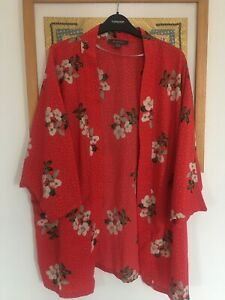 Lovely Primark Large Florals & Dots  Red Kimono Cover Up  Uk Size 16 .