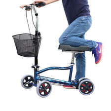 Foldable Medical Steerable Knee Scooter Walker Adult  Wheels Basket Crutch Blue