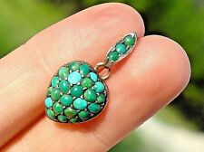 Antique Victorian SIGNED 9CT Persian Turquoise Cluster Puffy Heart Pendant