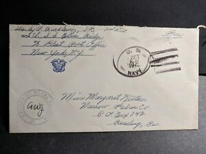 USS BLUE RIDGE AGC-2 Naval Cover 1943 Censored WWII Sailor's Mail