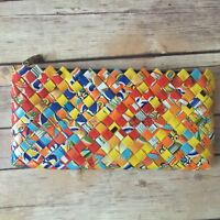Recycled Woven Strips Candy Wrapper Handmade Purse Clutch