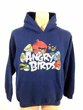 ANGRY BRIDS MENS NAVY COTTON BLEND HOODED PULLOVER SWEATER SIZE L NICE