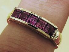 R164 Genuine Solid 9K GOLD NATURAL Rhodolite Garnet 5-Stone Eternity Ring size N