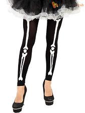 Ladies Skeleton Print Footless Tights Adults Halloween Fancy Dress Accessory STD