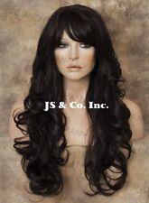 HEAT SAFE HUMAN HAIR Blend Wig Heat OK  Dark Brown Long Wavy WBNY 4