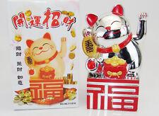 Waving Lucky Cat Maneki Neko Welcoming Beckoning Wealth Fortune Feng Shui Silver