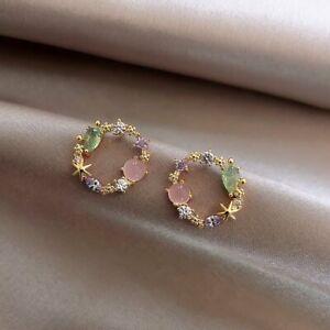 2021 Chic Flower Wreath Crystal Circle Earrings Stud Drop Women Jewellery Gifts