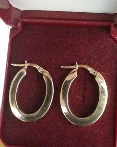 9ct Gold Broad Hoop Leaverback Earrings