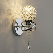 Pathson Modern K9 Crystal Corridor Bedside Wall Light Globe Chrome Sconce Lamp