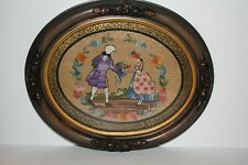 Antique Victorian Wooden Oval Frame with Needle Point Picture